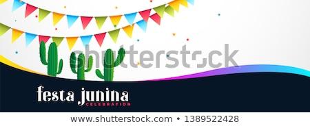 Evenement banner cactus plant dansen kleur Stockfoto © SArts
