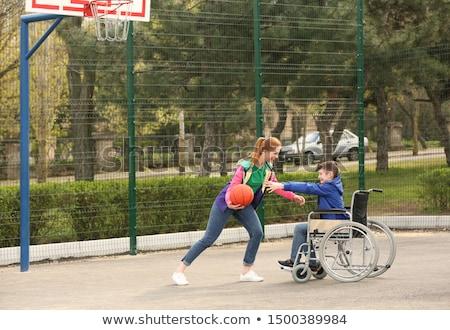 Сток-фото: мальчика · коляске · играет · баскетбол · иллюстрация · спорт