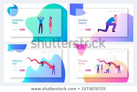 Character Bankrupt Man And Red Arrow Set Vector Stock photo © pikepicture