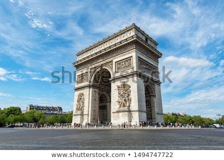 Foto d'archivio: Arc · de · Triomphe · cielo · blu · Parigi · Francia · costruzione · costruzione