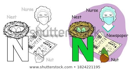 N betű rajz újság oktatási illusztráció ábécé Stock fotó © izakowski