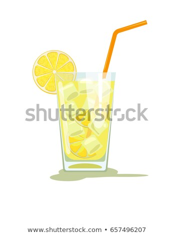 Color Glass With Lemonade And Ice Cubes Vector Stock photo © pikepicture
