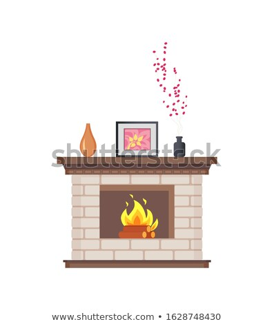 Fireplace with Framed Photo on Wooden Shelf Icon Stock photo © robuart