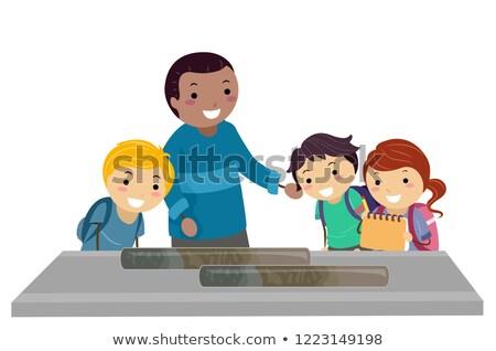 Stickman Kids Study Sediment Sample Oceanography Stock photo © lenm