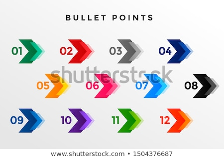 Pijl bullet punt nummers een twaalf Stockfoto © SArts
