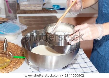 Nina harina cocina metálico rojo delantal Foto stock © ilona75