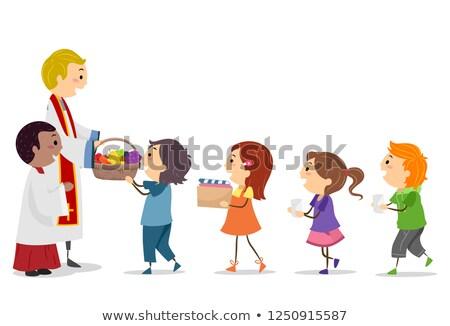 Crianças massa oferta ilustração para cima padre Foto stock © lenm