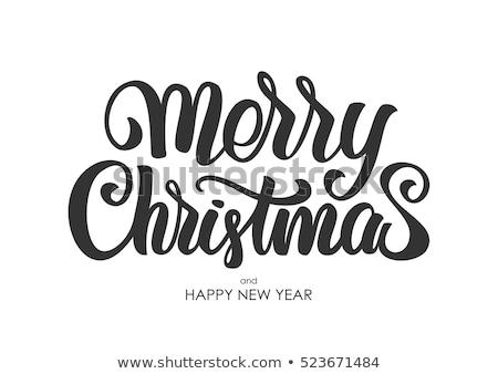 Wesoły christmas kaligrafia tekst szablon Zdjęcia stock © orensila