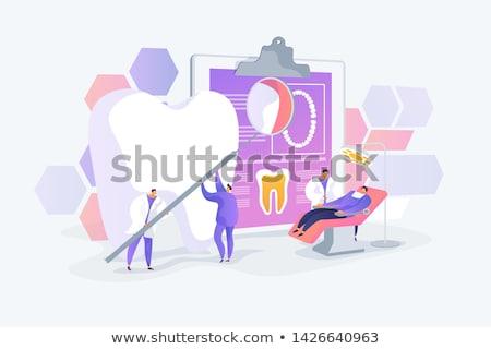 Tandheelkunde tandarts vergrootglas ladder onderzoeken reusachtig Stockfoto © RAStudio