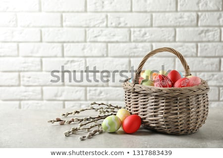 pussy willow branches decorated by easter eggs Stock photo © dolgachov