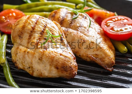 Poitrine de poulet bean frit haricots verts plaque alimentaire Photo stock © tycoon