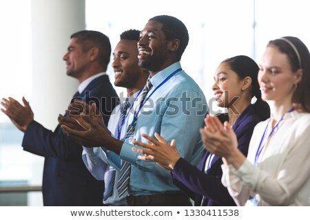 Vista lateral diverso pessoas de negócios em pé negócio Foto stock © wavebreak_media