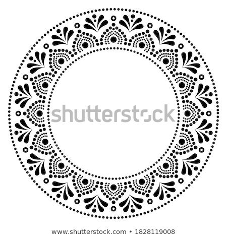 Mandala bohemian vector pattern, creative zen round design in black and white Stock photo © RedKoala