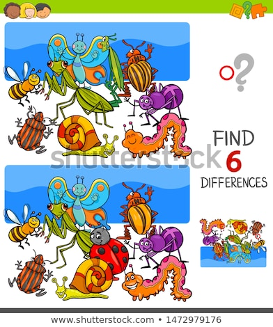 differences game with insects animal characters group Stock photo © izakowski
