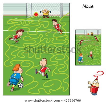 Doolhof spel jongen sport cartoon Stockfoto © izakowski