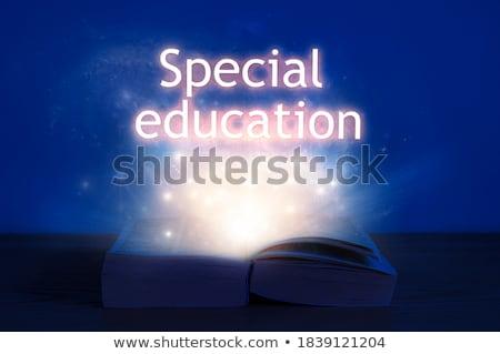 Oktatási felirat ki nyitott könyv kreatív ötletek Stock fotó © ra2studio