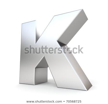 Brushed metal font Letter K 3D Stock photo © djmilic