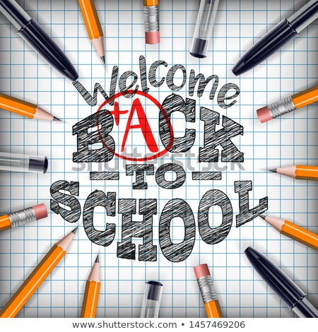 Back to school design with colorful pencil and typography letter on square grid booklet background.  Stock photo © articular