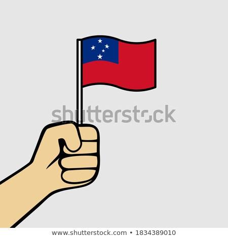Samoa bandeira mão branco fundo liberdade Foto stock © butenkow