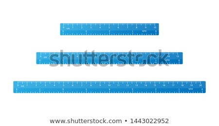 Set of bright blue school rulers with centimeter and inch marks on white Stock photo © evgeny89