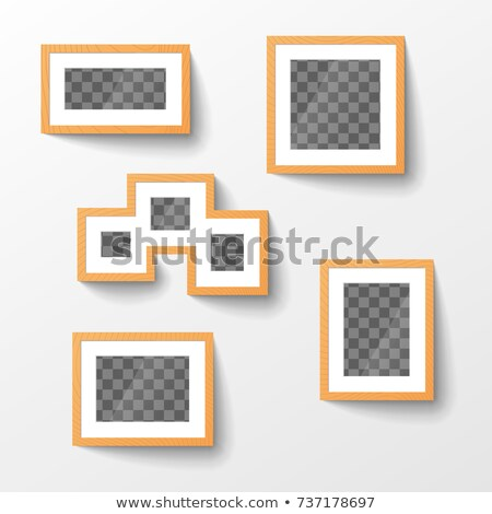Set of wooden blank picture frames with transparent place for photo in different proportions Stock photo © evgeny89