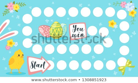 Vector Cartoon Style Illustration Of Kids Easter Board Game With Holiday Symbols Foto d'archivio © curiosity