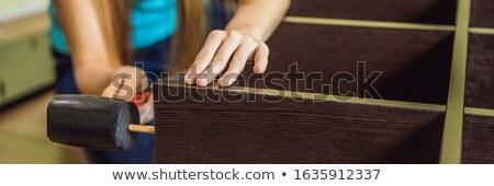 Caucásico mujer destornillador muebles banner largo Foto stock © galitskaya