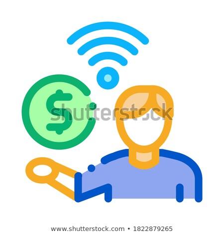 Pago wi-fi serviços ícone vetor Foto stock © pikepicture