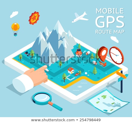 Smartphone World Gps Map isometric icon vector illustration Stock photo © pikepicture