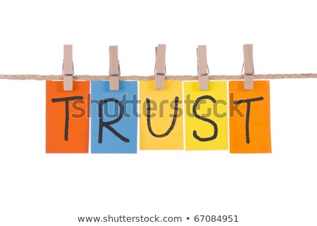trust colorful words hang on rope by wooden peg stock photo © ansonstock