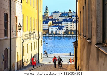Mały ulicy Sztokholm starych miasta budynku Zdjęcia stock © joyr