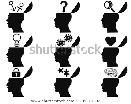 Stockfoto: Male Head Silhouette With Magnifying Glass And Brain