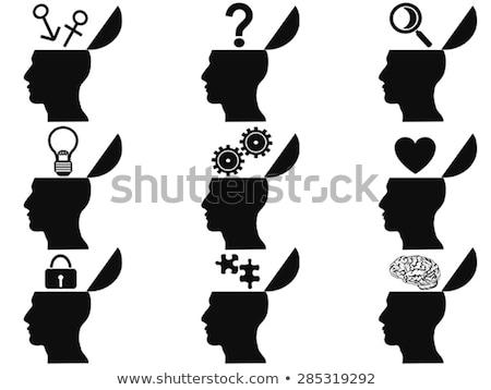 masculina · cabeza · silueta · aumento · vidrio · hombre - foto stock © adrian_n