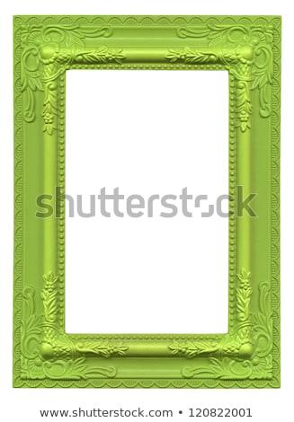 yeşil · resim · çerçevesi · yalıtılmış · beyaz · ahşap - stok fotoğraf © adamr