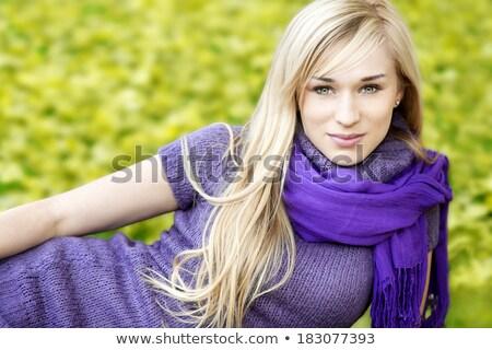 vrouw · paars · wollen · sjaal · portret · blond - stockfoto © aladin66