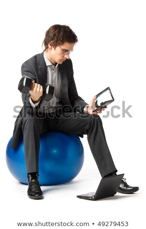 man in white sports suit does exercise Stock photo © Paha_L