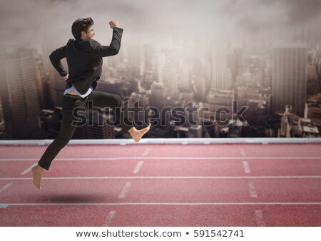 man in white sports suit runs barefoot stock photo © Paha_L