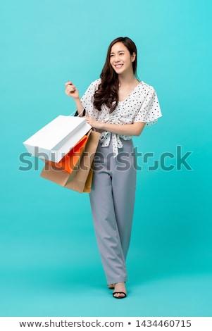 ázsiai nő vásárlás fiatal bevásárlótáskák szabadtér Stock fotó © elenaphoto