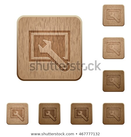 Widescreen Monitor symbol with media icons set texture Stock photo © cienpies