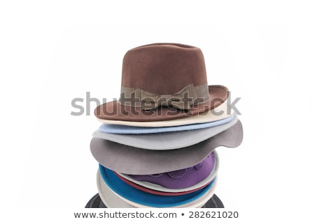 ストックフォト: Winter Hats Stack Isolated