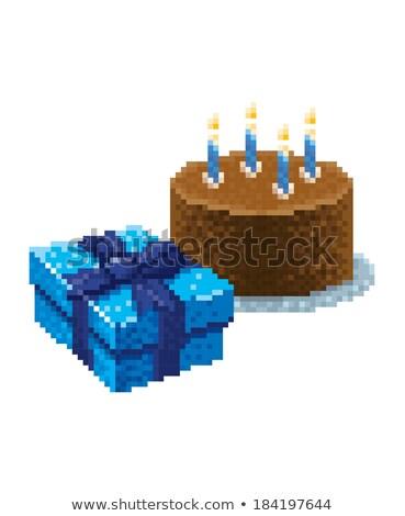 Születésnapi torta jókedv izolált fehér születésnap technológia Stock fotó © creisinger