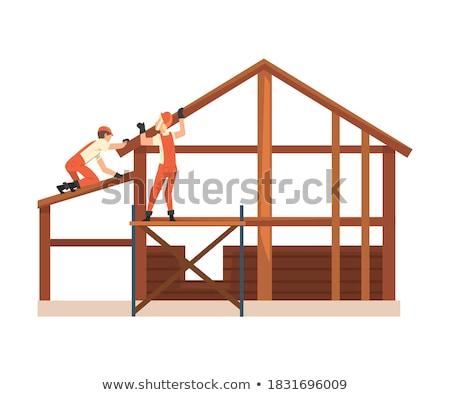 férfi · nehézség · emel · fából · készült · raktár · emberi - stock fotó © photography33
