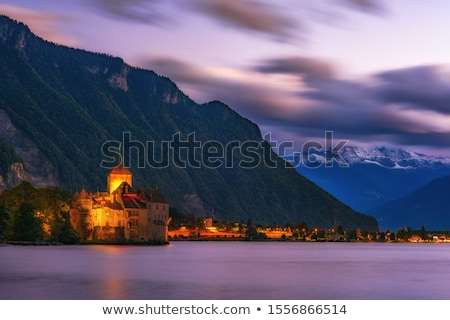 Kasteel Zwitserland meer hemel water Stockfoto © vladacanon