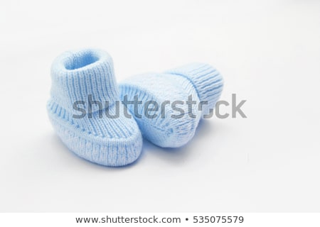 Blue baby shoes and frame Stock photo © ElaK