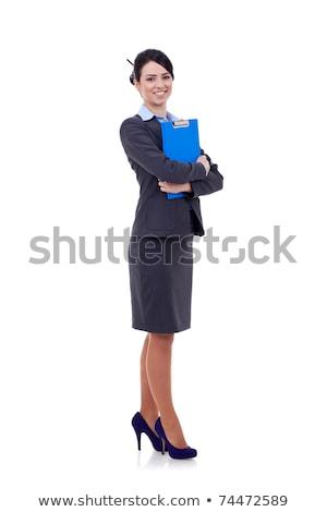 Stockfoto: Zakenvrouw · geïsoleerd · witte · mooie · bril