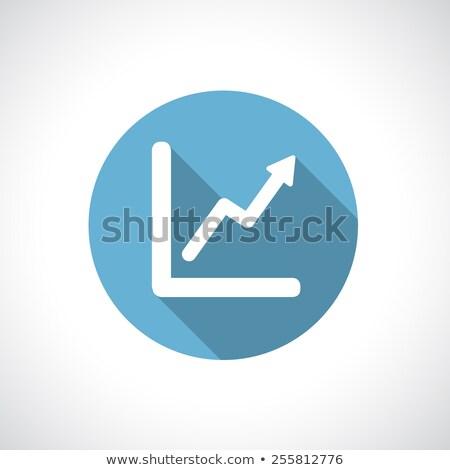 Stok fotoğraf: Ok · yukarı · ikon · mavi · yalıtılmış · beyaz