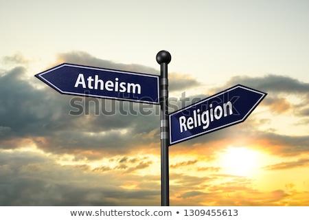 religión · signo · cielo · nube · dios · cartel - foto stock © MilosBekic