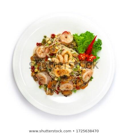 Baharatlı salata tay gıda domuz eti yeşil sebze Stok fotoğraf © pongam