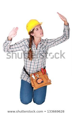 Női térdel kezek magasban munka felirat egyedül Stock fotó © photography33