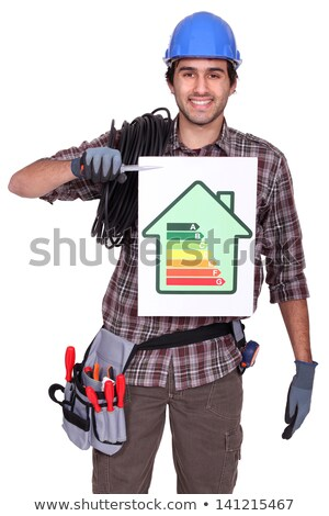 electrician holding energy information board stock photo © photography33
